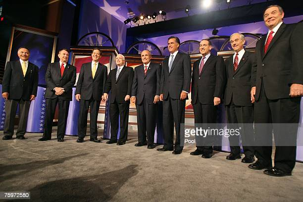 Republican Presidential candidates US Rep Tom Tancredo former Wisconsin Gov Tommy Thompson US Sen Sam Brownback US Sen John McCain former New York...