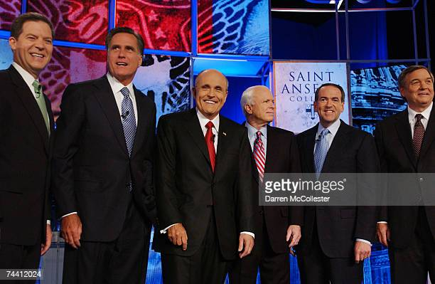 Republican presidential candidates US Sen Sam Brownback former Massachusetts Governor Mitt Romney former New York City Mayor Rudolph W Giuliani US...
