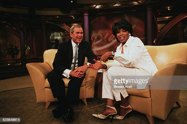 Republican Presidential canididate George W Bush and Oprah Winfrey during Bush's appearance on her talk show