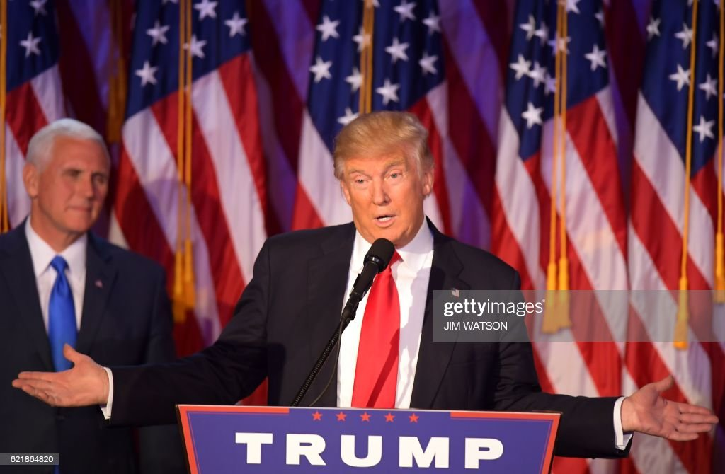 TOPSHOT - Republican presidential elect Donald Trump speaks during election night at the New York Hilton Midtown in New York on November 9, 2016. /