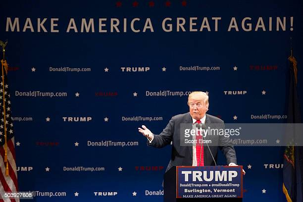 Republican presidential frontrunner Donald Trump on stage during his event at the Flynn Center for the Performing Arts on January 7 2016 in...