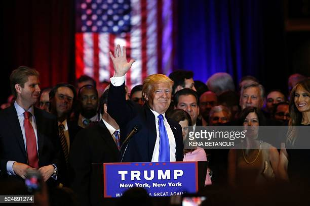 Republican presidential frontrunner Donald Trump speaks at Trump Tower in New York on April 262016 after winning primaries in Pennsylvania Maryland...