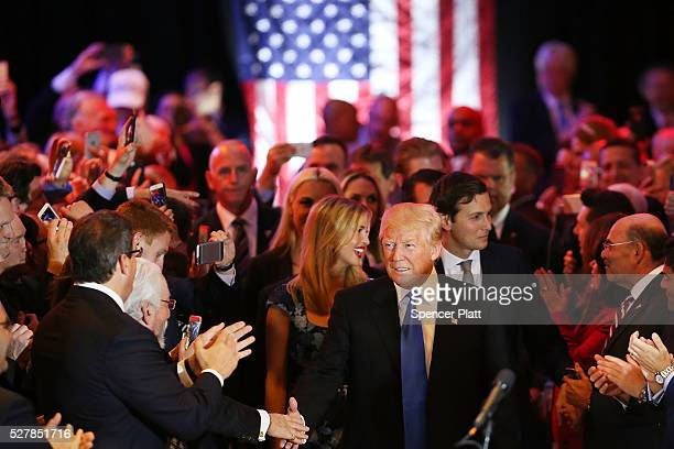 Republican presidential frontrunner Donald Trump speaks to supporters and the media at Trump Tower in Manhattan following his victory in the Indiana...