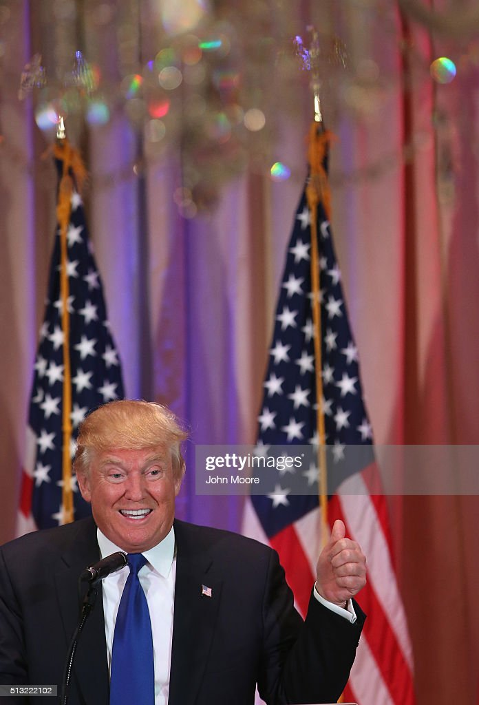 Republican Presidential frontrunner Donald Trump speaks to the media at the Mar-A-Lago Club on March 1, 2016 in Palm Beach, Florida. Trump held the press conference after the closing of Super Tuesday polls in a dozen states.