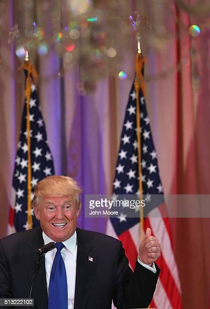 Republican Presidential frontrunner Donald Trump speaks to the media at the MarALago Club on March 1 2016 in Palm Beach Florida Trump held the press...