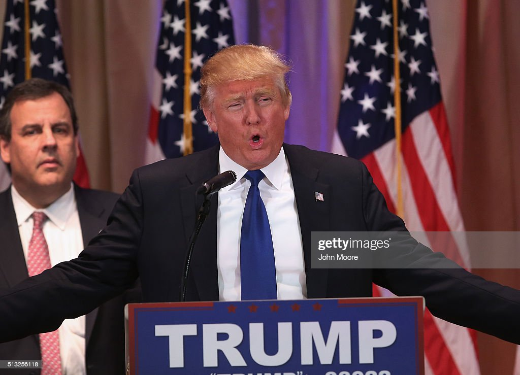 Republican Presidential frontrunner Donald Trump speaks to the media at his Mar-A-Lago Club on Super Tuesday, March 1, 2016 in Palm Beach, Florida. Trump held a press conference, flanked by New Jersey Governor Chris Christie, after the polls closed in a dozen states nationwide.