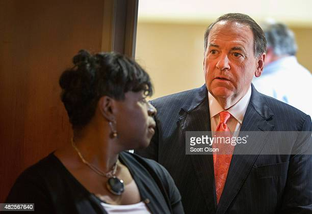 Republican presidential hopeful and former Arkansas Governor Mike Huckabee waits to be introduced at the Freedom's Journal Institute for the Study of...