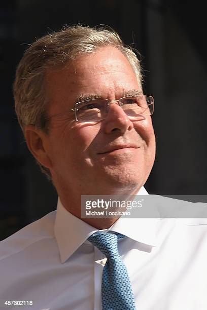 Republican presidential hopeful and former Florida Gov Jeb Bush attends the first taping of The Late Show With Stephen Colbert on September 8 2015 in...