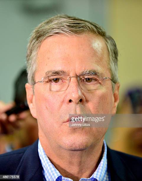 Republican presidential hopeful and former Florida Gov Jeb Bush speaks to the media after holding a town hall style meeting with high school students...