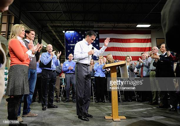 Republican presidential hopeful and former Massachusetts Gov Mitt Romney holds a town hall meeting at Diamond V South Plant with his wife Ann Romney...