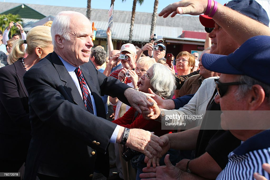 Republican presidential hopeful and Sen. John McCain (R-AZ) shakes hands during a campaign stop at the Shell Factory January 26, 2008 in North Ft. Myers, Florida. Republican presidential candidates continue to campaign in Florida for the upcoming primary.