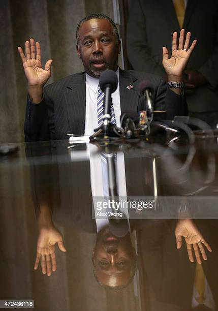 Republican presidential hopeful Ben Carson speaks during a meeting with pastors and community leaders May 7 2015 in Baltimore Maryland Carson met...