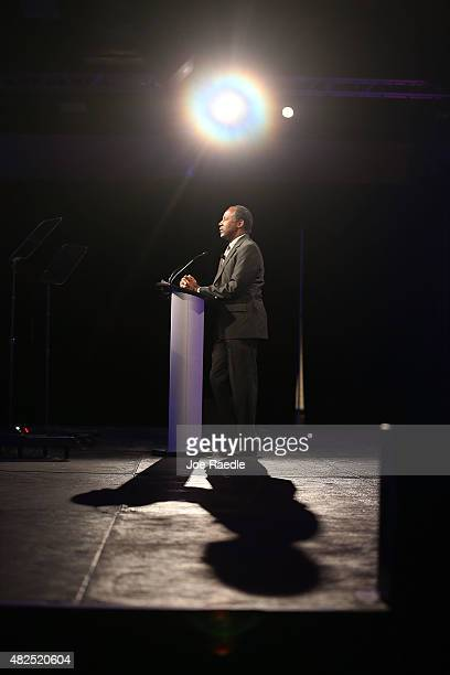 Republican Presidential hopeful Ben Carson speaks during the Presidential Candidates Plenary at the National Urban League conference in the Fort...