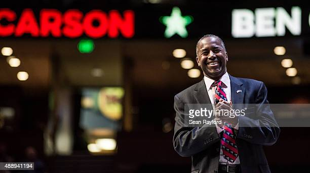 Republican presidential hopeful Ben Carson speaks to the crowd at the Heritage Action Presidential Candidate Forum September 18 2015 in Greenville...