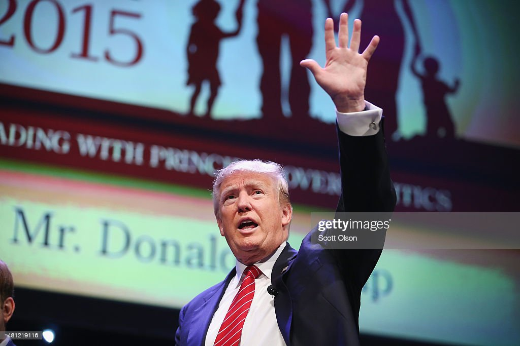 Republican presidential hopeful businessman Donald Trump fields questions at The Family Leadership Summit at Stephens Auditorium on July 18, 2015 in Ames, Iowa. According to the organizers the purpose of The Family Leadership Summit is to inspire, motivate, and educate conservatives.