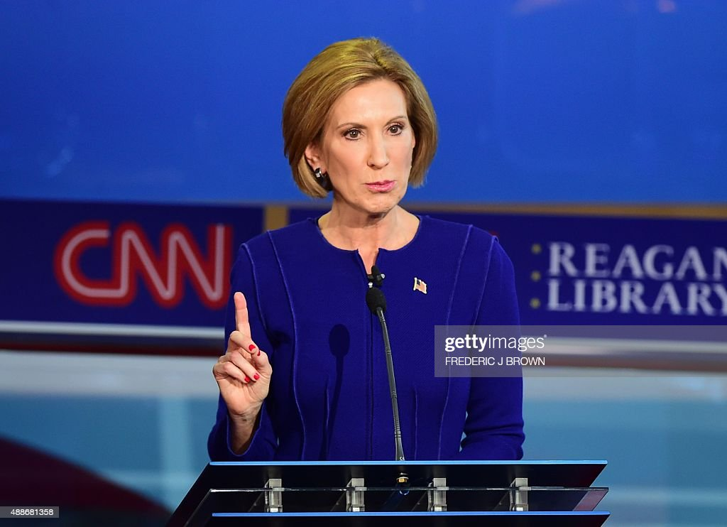 Republican presidential hopeful Carly Fiorina speaks during the Republican presidential debate at the Ronald Reagan Presidential Library in Simi Valley, California on September 16, 2015. Republican presidential frontrunner Donald Trump stepped into a campaign hornet's nest as his rivals collectively turned their sights on the billionaire in the party's second debate of the 2016 presidential race.