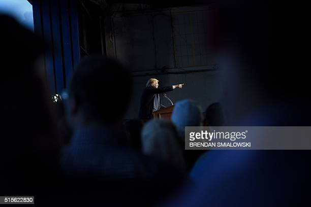 US Republican presidential hopeful Donald Trump addresses a rally March 14 2016 in Vienna Center Ohio The six remaining White House hopefuls made a...