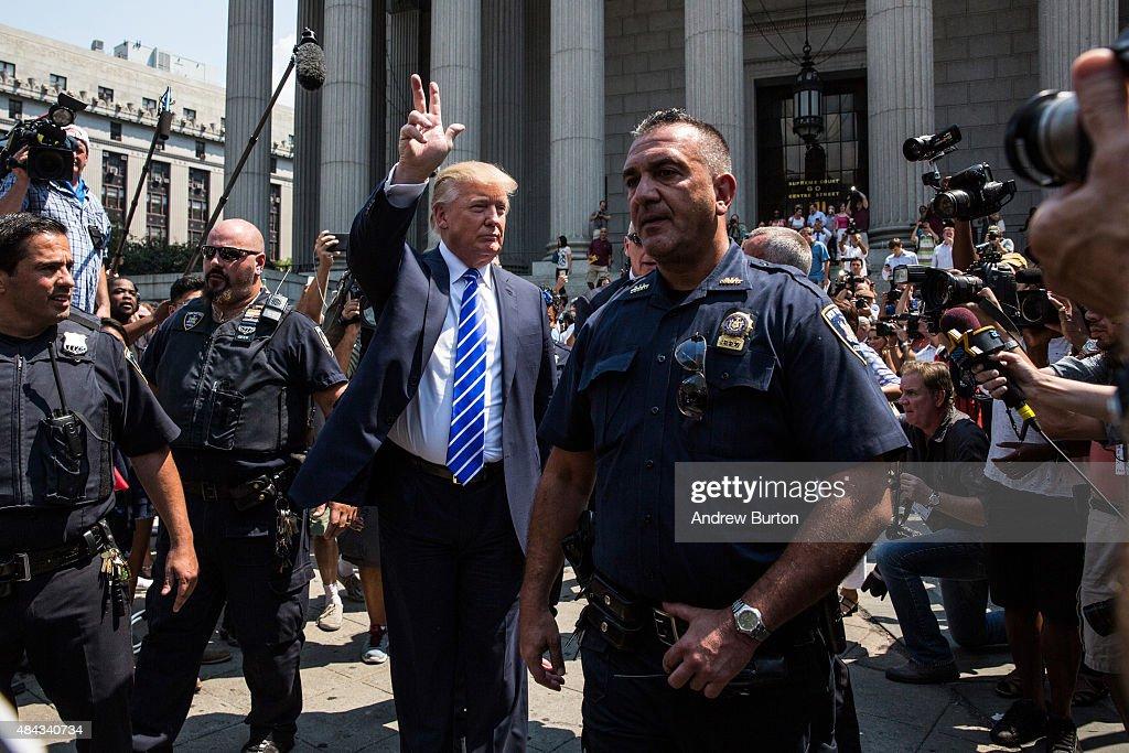 Republican Presidential hopeful Donald Trump leaves Manhattan