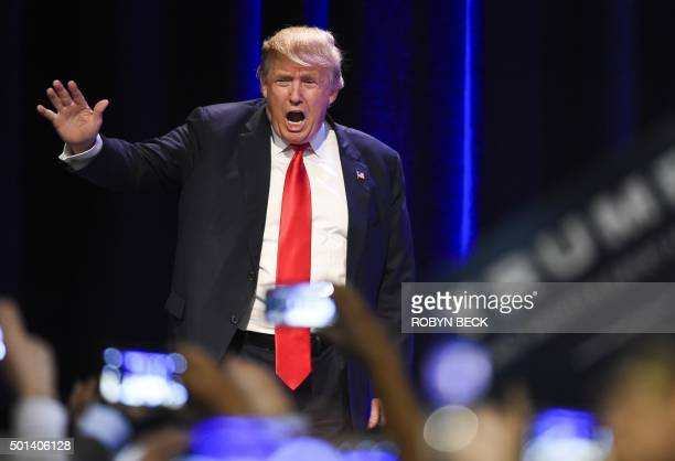 Republican presidential hopeful Donald Trump speaks at a rally at the Westgate Hotel and Resort in Las Vegas Nevada on December 14 2015 Trump will...