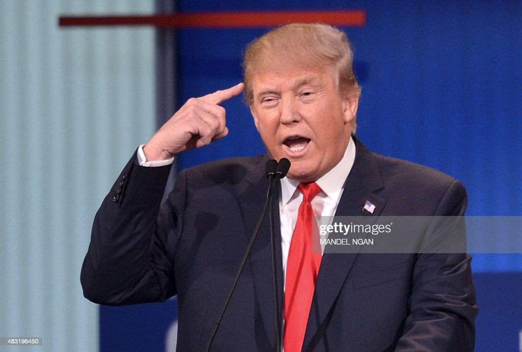 Republican presidential hopeful Donald Trump speaks during the prime time Republican presidential primary debate on August 6, 2015 at the Quicken Loans Arena in Cleveland, Ohio.