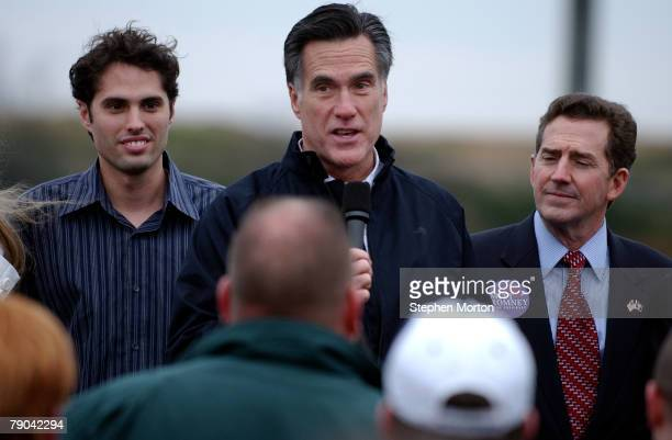 Republican Presidential hopeful former Massachusetts Gov Mitt Romney addresses a small crowd of supporters while US Sen Jim DeMint and Romney's son...