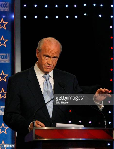Republican presidential hopeful former US Sen Fred Thompson speaks during a televised debate at the Myrtle Beach Convention Center January 10 2008 in...