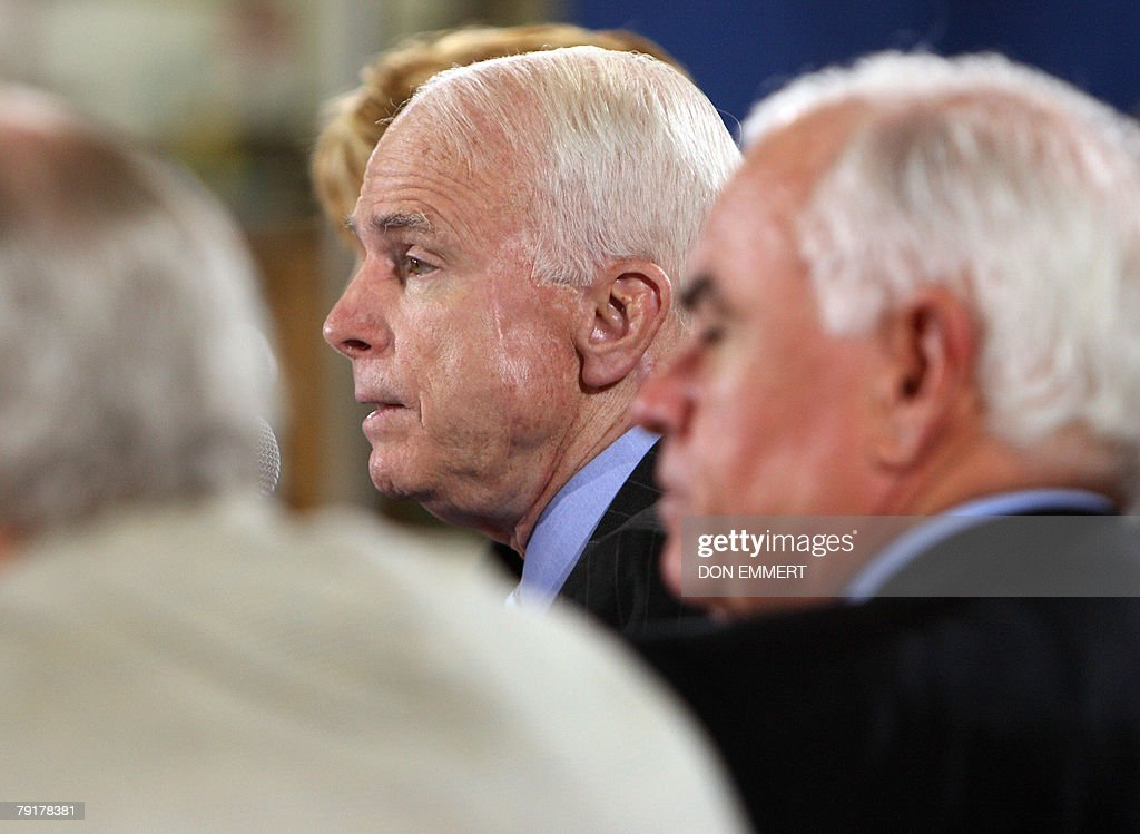 US Republican presidential hopeful John McCain takes a question during an economic roundtable meeting at Baker Manufacturing Company 23 January 2008 during a campaign stop In Orlando, ahead of Florida's 29 January presidential primary. AFP PHOTO/Don EMMERT