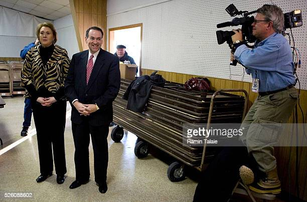 Republican presidential hopeful Mike Huckabee and his wife Janet, arrive for a campaign stop at Webster County Fairgrounds in Fort Dodge.
