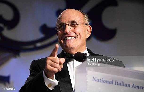 Republican presidential hopeful Rudy Giuliani addresses the audience after receiving a National Italian American Foundation Special Achievement Award...