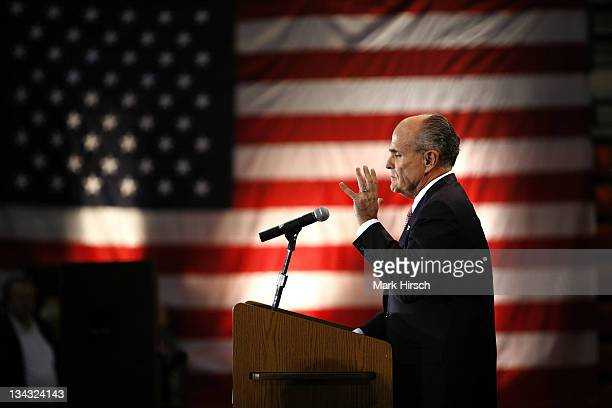 Republican presidential hopeful Rudy Giuliani speaks during his campaign stop at Valley High School Tuesday April 3 in West Des Moines Iowa