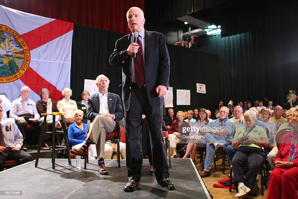 Republican presidential hopeful Sen. John McCain (R-AZ) speaks during a campaign stop January 26, 2008 in Sun City Center, Florida. Republican presidential candidates continue to campaign in Florida for the upcoming primary.