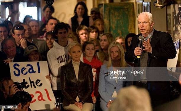 Republican presidential hopeful Sen John McCain speaks during a town hall meeting at Goode Company Barbeque March 4 2008 in Houston Texas McCain is...