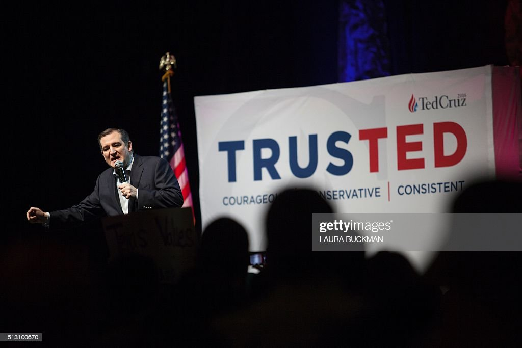 US Republican presidential hopeful Sen. Ted Cruz speaks at a campaign rally in Dallas, Texas on February 29, 2016 one day before the 'Super Tuesday' primaries. Americans in a dozen states head to the polls for a slew of primaries and caucuses March 1 on what is considered the most important day of the presidential nominations calendar. / AFP / Laura Buckman