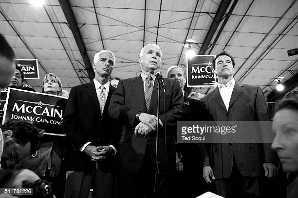 Republican presidential hopeful Senator John McCain during a campaign stop at the San Diego airport with California Governor Arnold Schwarzenegger...
