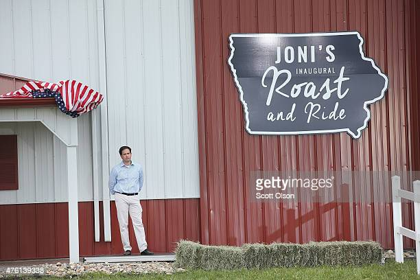 Republican presidential hopeful US Sen Marco Rubio waits his turn to speak at a Roast and Ride event hosted by freshman Senator Joni Ernst on June 6...