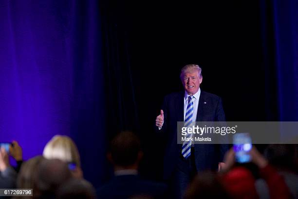 Republican Presidential nominee Donald J Trump arrives for an event at the Eisenhower Hotel and Conference Center October 22 2016 in Gettysburg...
