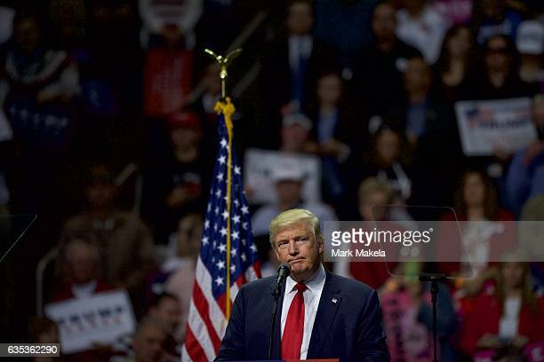 Republican Presidential nominee Donald J Trump holds a rally at Giant Center November 4 2016 in Hershey Pennsylvania Polls have narrowed in the...