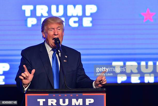 Republican presidential nominee Donald J Trump speaks during a campaign event at James L Knight Center on September 16 2016 in Miami Florida