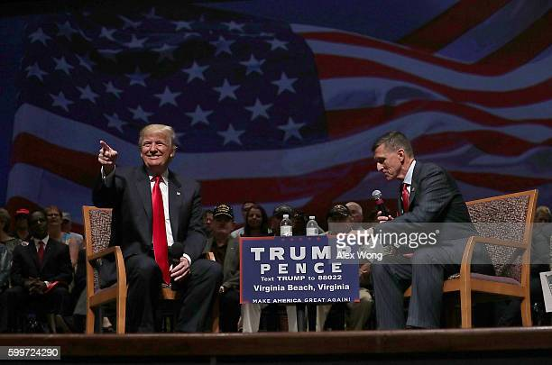 Republican presidential nominee Donald Trump acknowledges the crowd during a campaign event September 6 2016 in Virginia Beach Virginia Trump...