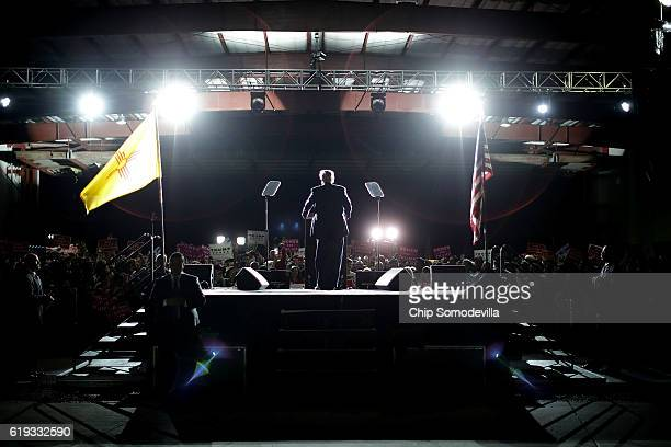 Republican presidential nominee Donald Trump addresses a campaign rally at Atlantic Aviation near Albuquerque International Airport October 30 2016...