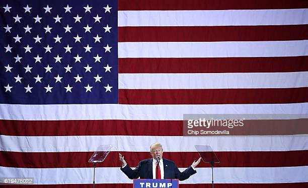 Republican presidential nominee Donald Trump addresses a campaign rally at the Deltaplex Arena October 31 2016 in Grand Rapids Michigan With just...