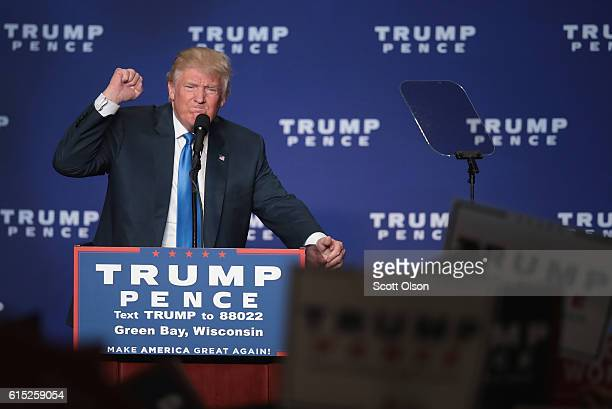 Republican presidential nominee Donald Trump addresses supporters during a campaign stop at the KI Convention Center on October 17 2016 in Green Bay...