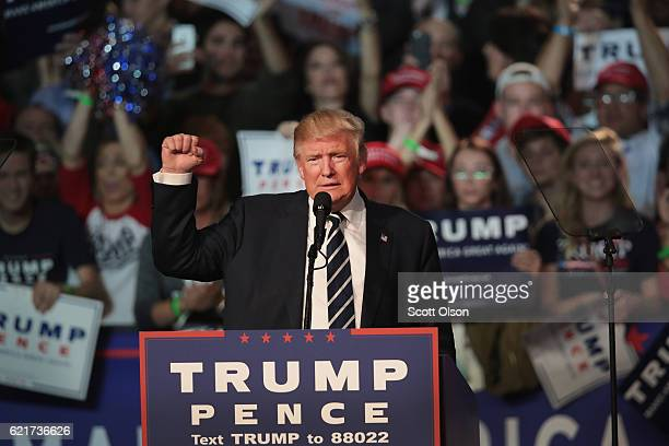 Republican presidential nominee Donald Trump addresses supporters during a campaign rally on November 8, 2016 in Grand Rapids, Michigan. With less...