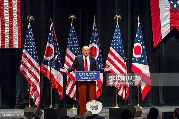 Republican presidential nominee Donald Trump addresses supporters at the Stranahan Theater on September 21 2016 in Toledo Ohio Recent Ohio polls show...