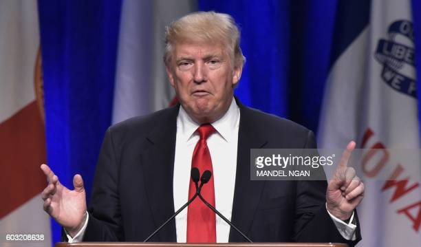 US Republican presidential nominee Donald Trump addresses the 138th General Conference of National Guard Association of the US at the Baltimore...