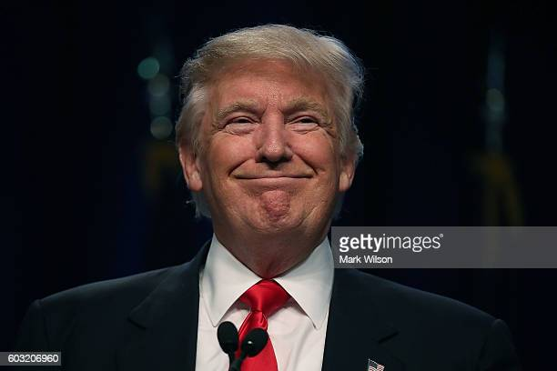 Republican presidential nominee Donald Trump addresses the National Guard Association of the United States' 138th general conference exhibition at...