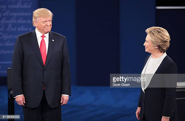 Republican presidential nominee Donald Trump and Democratic presidential nominee former Secretary of State Hillary Clinton during the town hall...