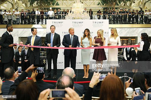 Republican presidential nominee Donald Trump and his family son Donald Trump Jr son Eric Trummp wife Melania Trump and daughters Tiffany Trump and...
