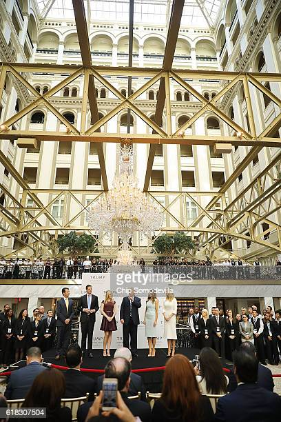 Republican presidential nominee Donald Trump and his family son Donald Trump Jr son Eric Trump wife Melania Trump and daughters Tiffany Trump and...
