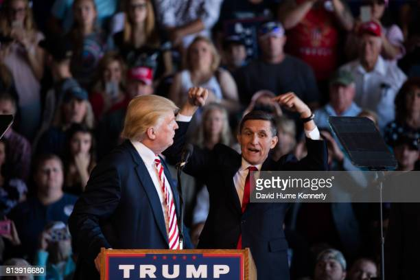 Republican Presidential Nominee Donald Trump and retired Lieutenant General Mike Flynn at a rally inside an aircraft hangar Grand Junction Colorado...